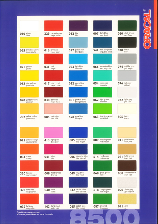 ORACAL 8500 color reference table